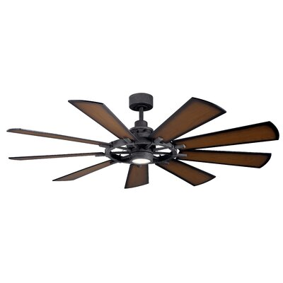 17 Stories 65 inch Alex 9 Blade LED Ceiling Fan Finish Distressed Black