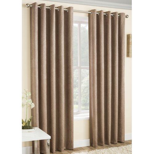 Falkner Eyelet Room Darkening Thermal Curtains Brambly Cottage Colour: Latte, Size per Panel: 117 W x 229 D cm
