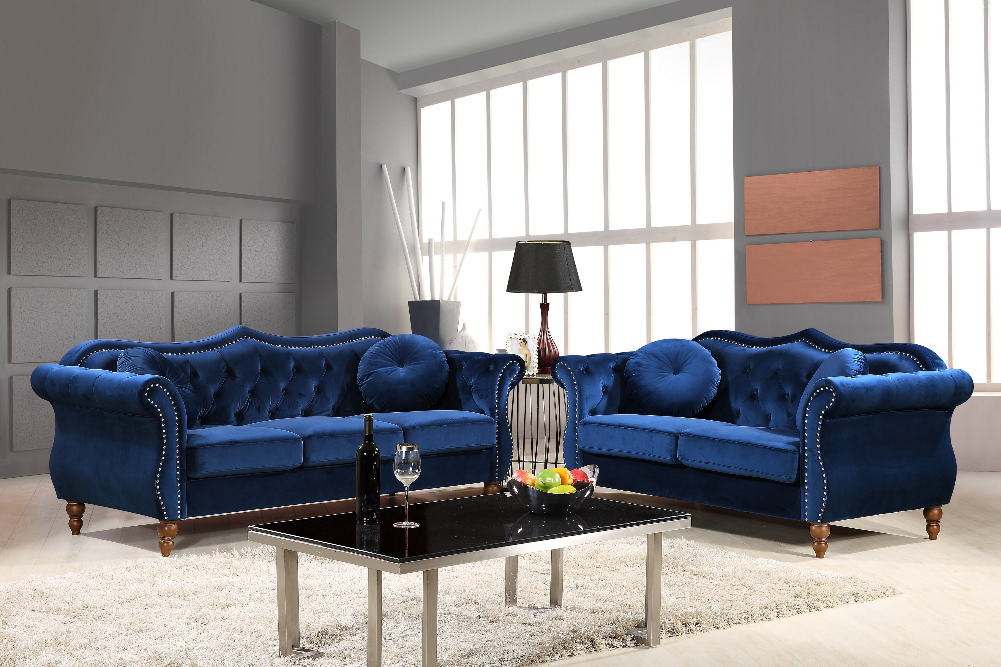 House Of Hampton Tommy Classic Nailhead Chesterfield 2 Piece Living Room Set Reviews Wayfair Ca