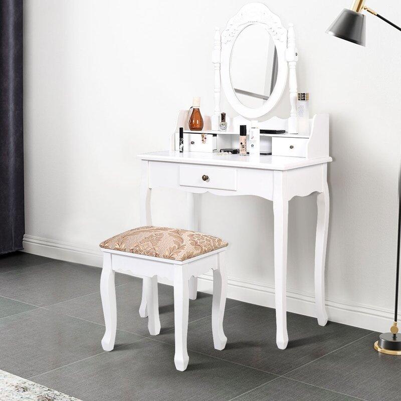 One Allium Way Edmont Makeup Vanity Set With Stool And Mirror Wayfair