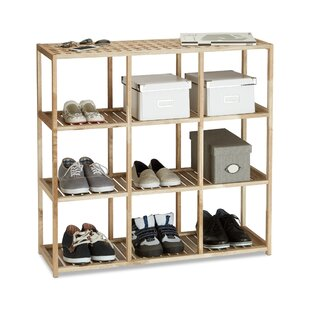 Walnut Wood 9 Pair Shoe Rack By Brambly Cottage