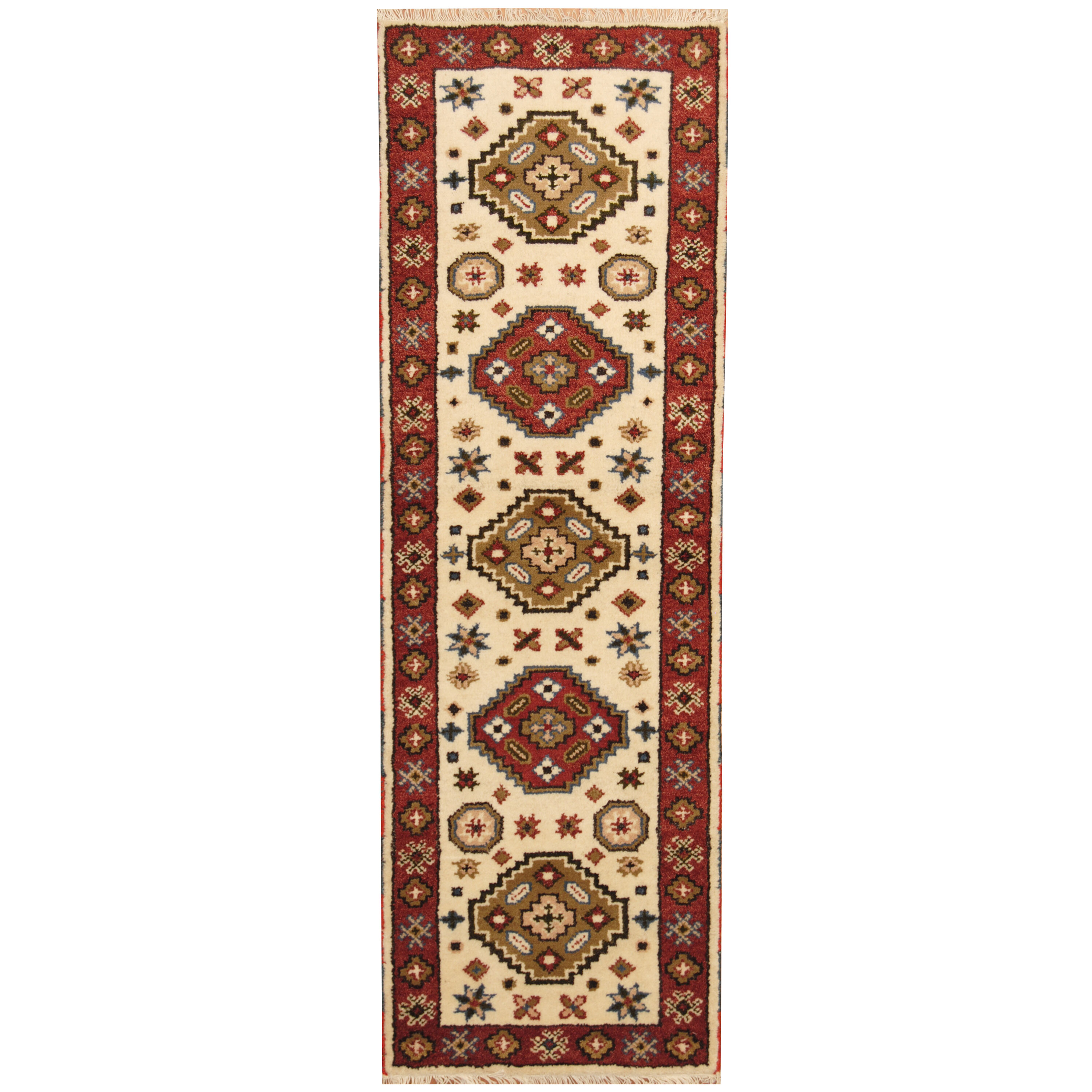 Isabelline One Of A Kind Jevon Hand Knotted Ivory Rust 2 3 X 6 7 Runner Wool Area Rug Wayfair