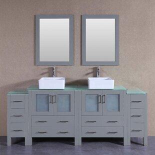 Stockbridge 84 Double Bathroom Vanity Set with Mirror by Bosconi