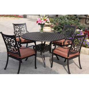 Astoria Grand Mccraney Traditional 5 Piece Dining Set with Cushions