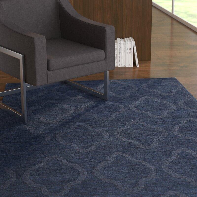 Ebern Designs Dobson Handmade Navy Geometric Area Rug Reviews Wayfair