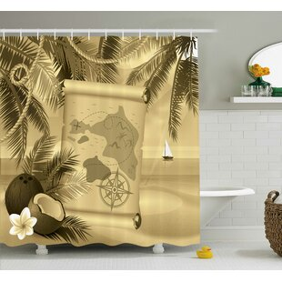 Aragon Sepia View of Island Single Shower Curtain