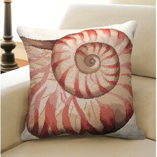 Coastal Seashell Needlepoint Wool Throw Pillow