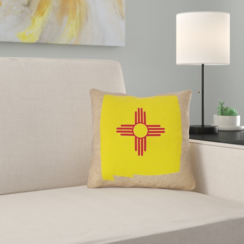 East Urban Home New Mexico Flag Pillow In Poly Twill Double Sided Print Throw Pillow Wayfair
