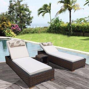 Gaia 3 Piece Chaise Lounge with Cushion