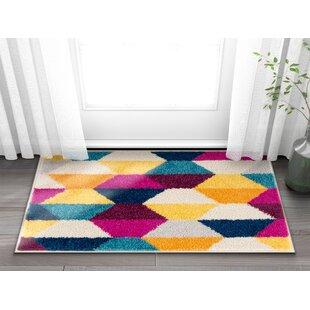 hot pink and black area rug wayfair cajemison geometric yellow black pink area rug