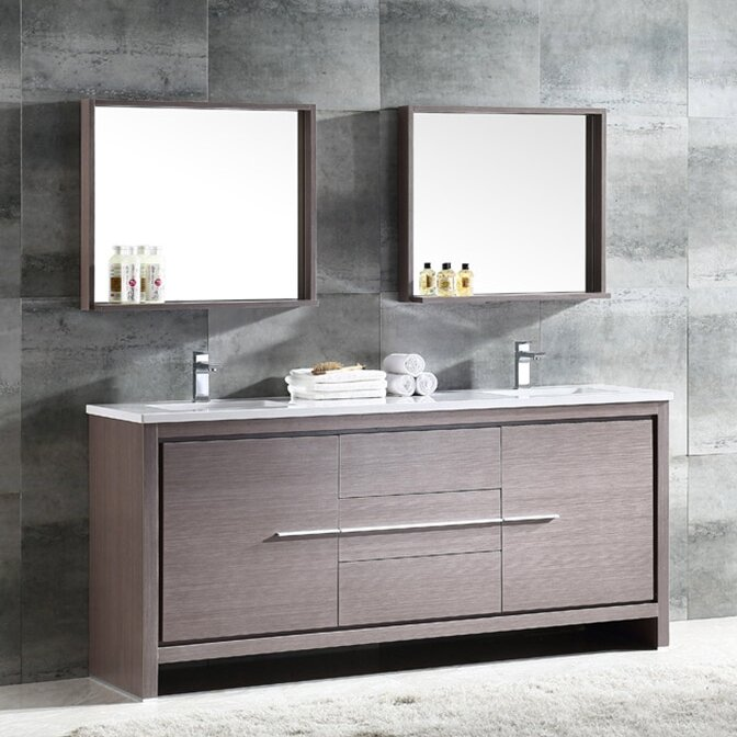 Trieste Allier 72 Double Bathroom Vanity Set With Mirror