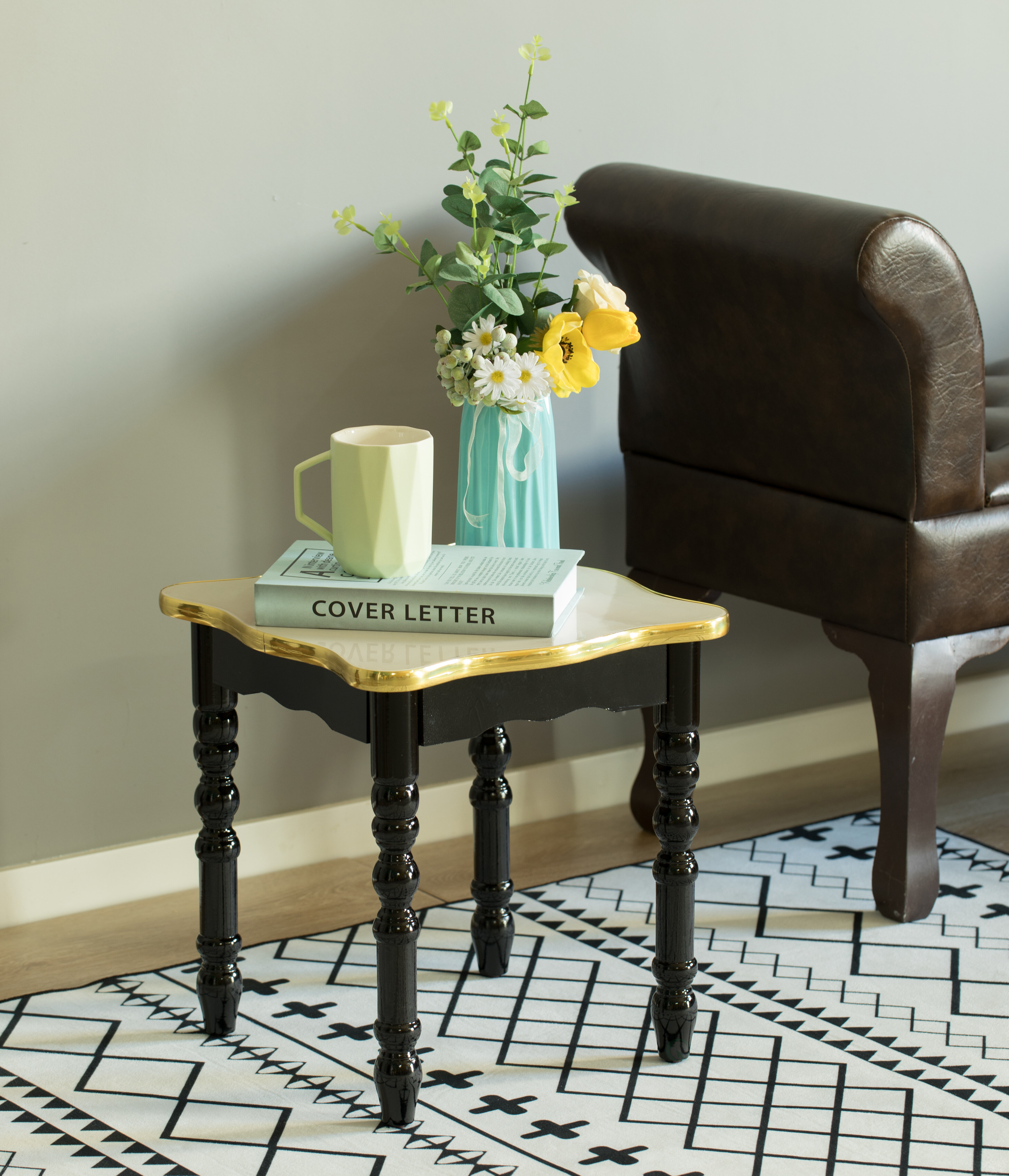 Square Wooden Side Table, Living Room Accent End Table, Gold And Brown