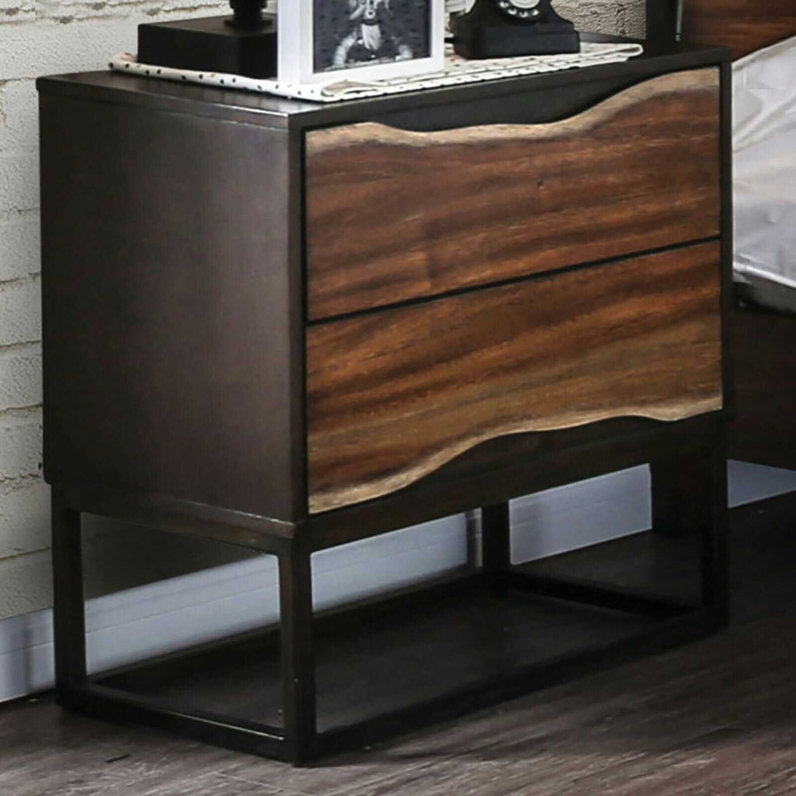 Foundry Select Savoie 2 Drawer Nightstand In Black Oak Wayfair