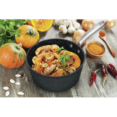 MasterPan Granite Ultra Non-Stick Cast Aluminum Sauce Pan with Glass Lid Master Pan