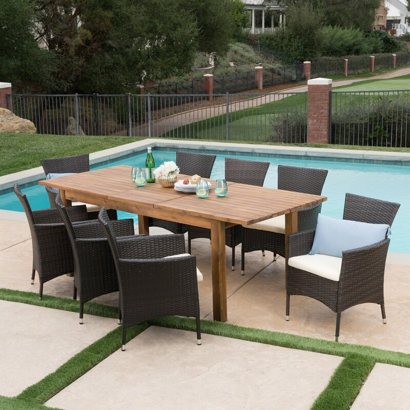 Woodhouse 9 Piece Extendable Dining Set with Cushions