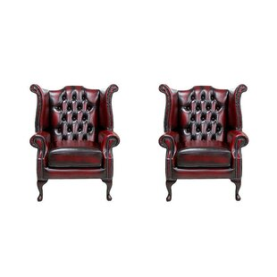 Discount Salley Queen Anne Leather Wingback Chair (Set Of 2)