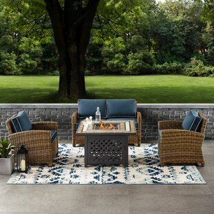 Lawson 4 Piece Outdoor Wicker Seating Set With Navy Cushions - Loveseat, Two Arm Chairs Fire Table