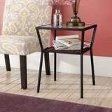 Howell Glass Top End Table with Storage by Williston Forge