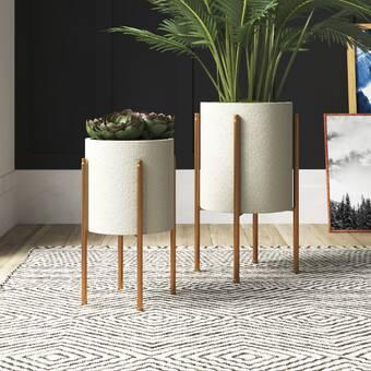 Cosmoliving By Cosmopolitan Contemporary 2 Piece Metal Pot Planter Set Reviews Wayfair