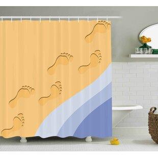 Affordable Gale Modern Footprints Sand Realistic Print Near Ocean Waves Digital Image Shower Curtain ByHighland Dunes