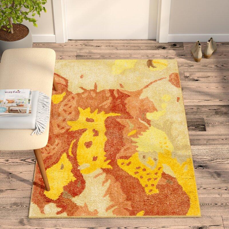 Ivy Bronx Camren Abstract Handmade Tufted Wool Yellow Orange Red Area Rug Reviews Wayfair