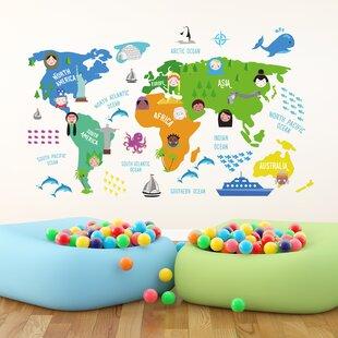 World map wall mural wayfair colourful nursery world map wall sticker gumiabroncs Images