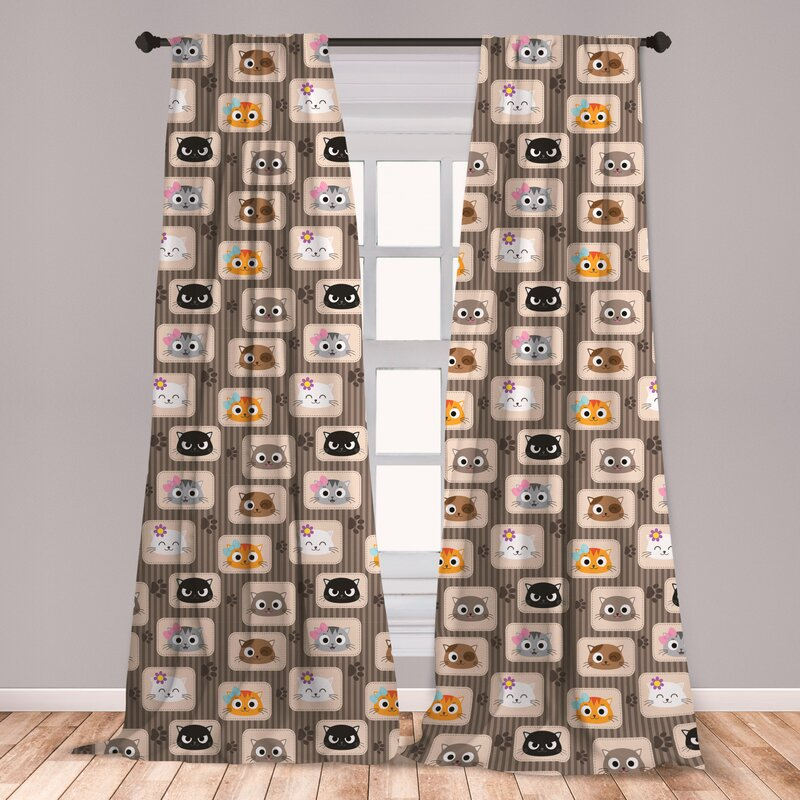 East Urban Home Ambesonne Cat Curtains, Patchwork Inspired Pattern