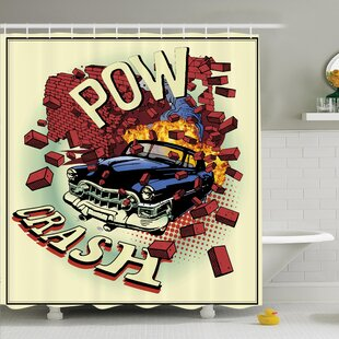Vintage 80's Pop Art Crash Art Shower Curtain Set