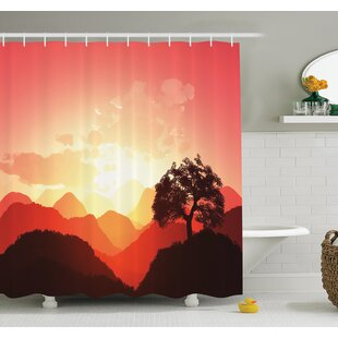 Nature Sunset Tree Mountains Shower Curtain Set