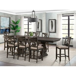 Hot Springs 9 Piece Counter Height Extendable Dining Set Three Posts