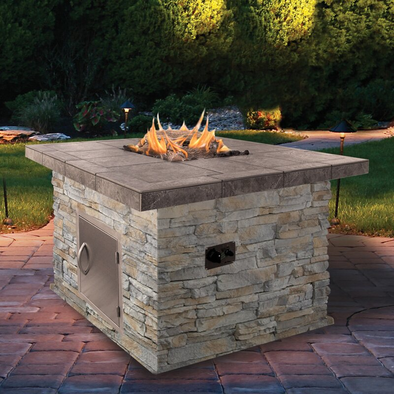 Charming Propane Gas Fire Pit Part - 5: Natural Stone Propane Gas Fire Pit