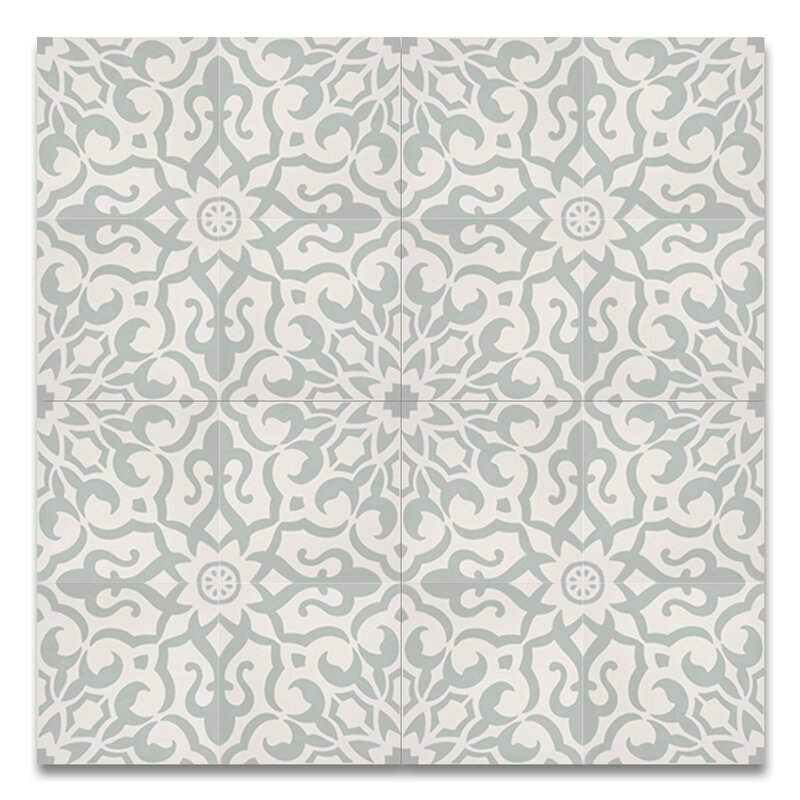 "Atlas 8"" x 8"" Handmade Cement  Tile in Green/White"
