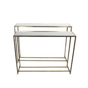 Read Reviews Portland 2 Piece Iron & Glass End Table Set by Mercer41