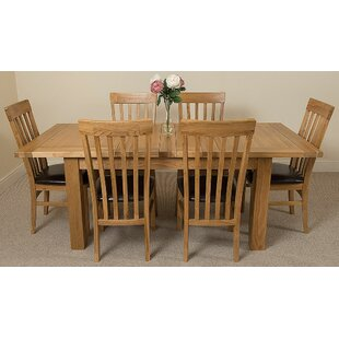 Review Sairsingh Kitchen Solid Oak Dining Set With 6 Chairs