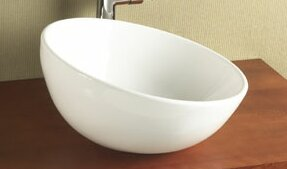 Ronbow Sloped Rim Ceramic Circular Vessel Bathroom Sink