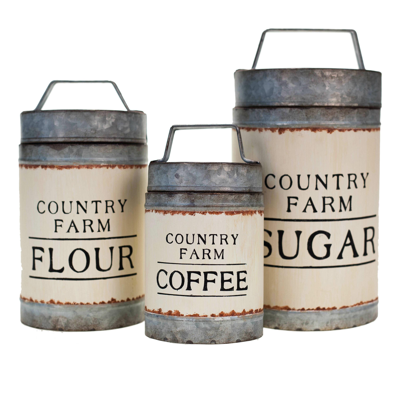 Gracie Oaks Metal 3 Piece Sugar Flour Coffee Canister Set Reviews Wayfair