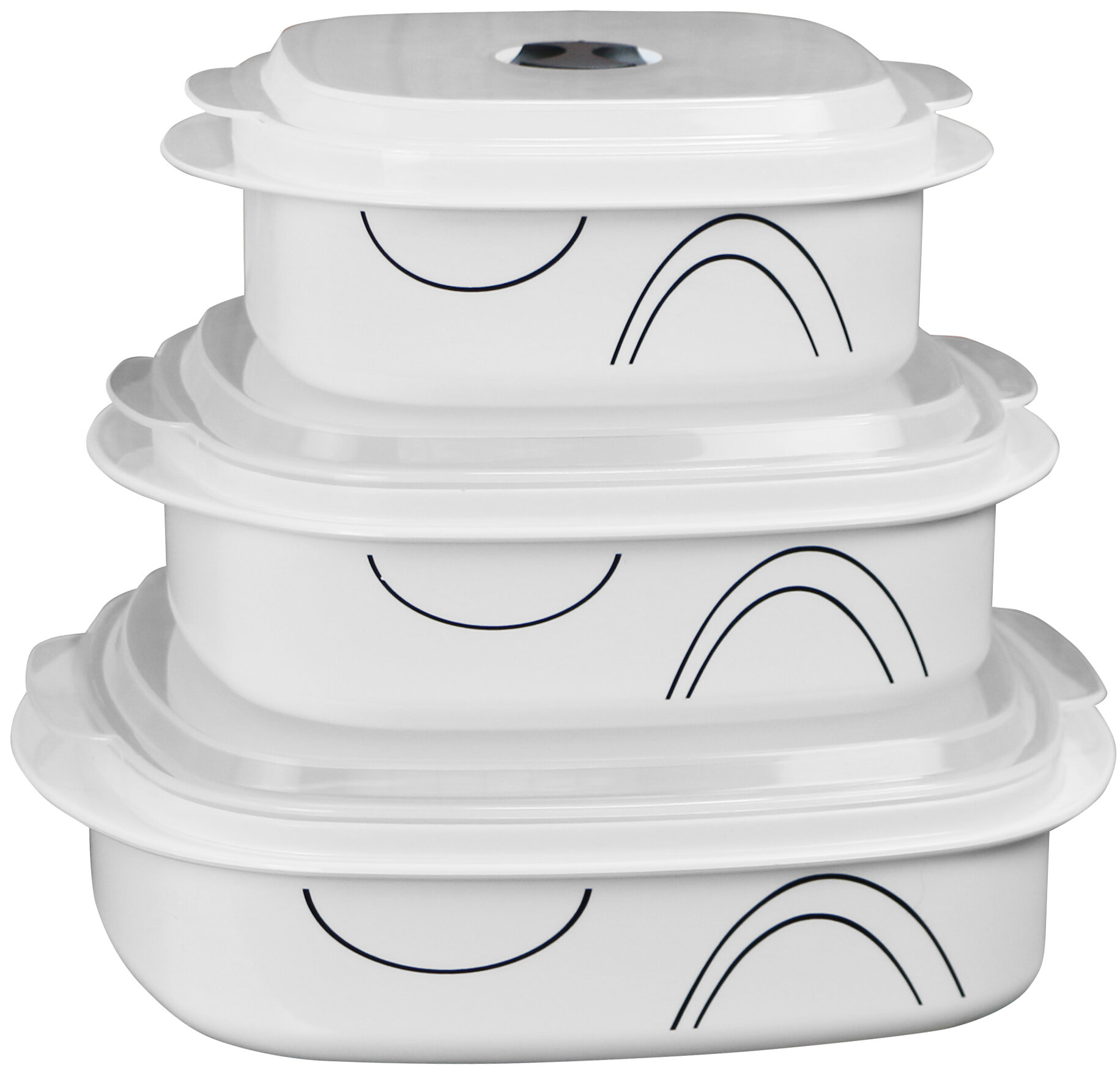 Corelle Simple Lines Microwave Cookware 3 Container Food Storage Set Reviews Wayfair