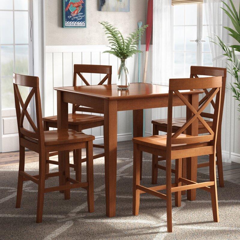 White Cane Outdoor Furniture, Highland Dunes Duffey 5 Piece Counter Height Pub Table Set Reviews Wayfair