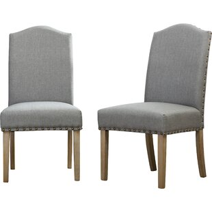 Bungalow Rose Kenleigh Urban Style Solid Wood Nailhead Fabric Padded Parson Chair (Set of 2)