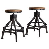 Wellman Adjustable Height Swivel Bar Stool (Set of 2) by Williston Forge