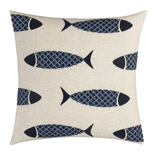 Lockridge Embroidered Fish Linen Throw Pillow