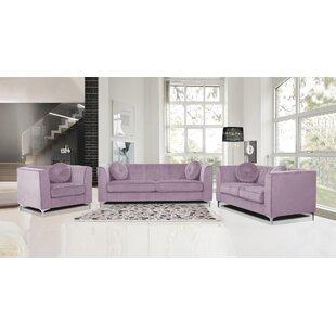 Byesville 3 Piece Velvet Living Room Set by Everly Quinn