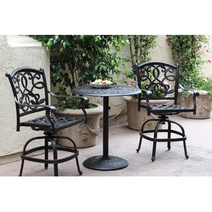 Fleur De Lis Living Calhoun 3 Piece Bar Height Dining Set with Cushions
