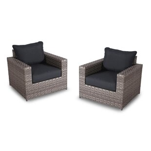 Burkley Patio Chair with Cushions (Set of 2)