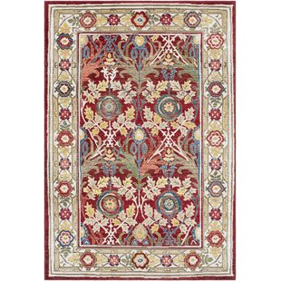 Review Arbouet Floral Cream/Red Oriental Area Rug by Charlton Home