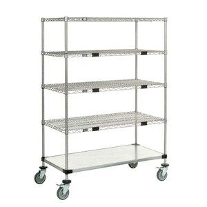 Standard Duty Wire/Solid Exchange and Linen Transport Truck 5 Shelf Shelving Unit