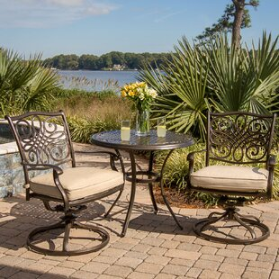 Fleur De Lis Living Carleton 3 Piece Bistro Dining Set with Cushion
