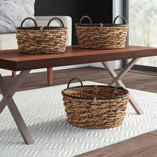 L Anfora Rattan Amphoren Lounge.Large Round Shallow Basket Wayfair