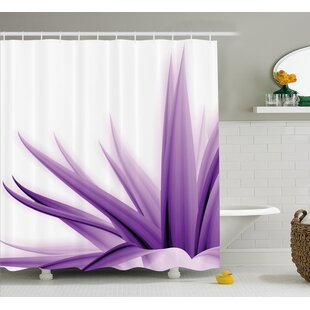 Krista Flower Purple Ombre Long Leaves Water Colored Print With Calming Details Image Single Shower Curtain
