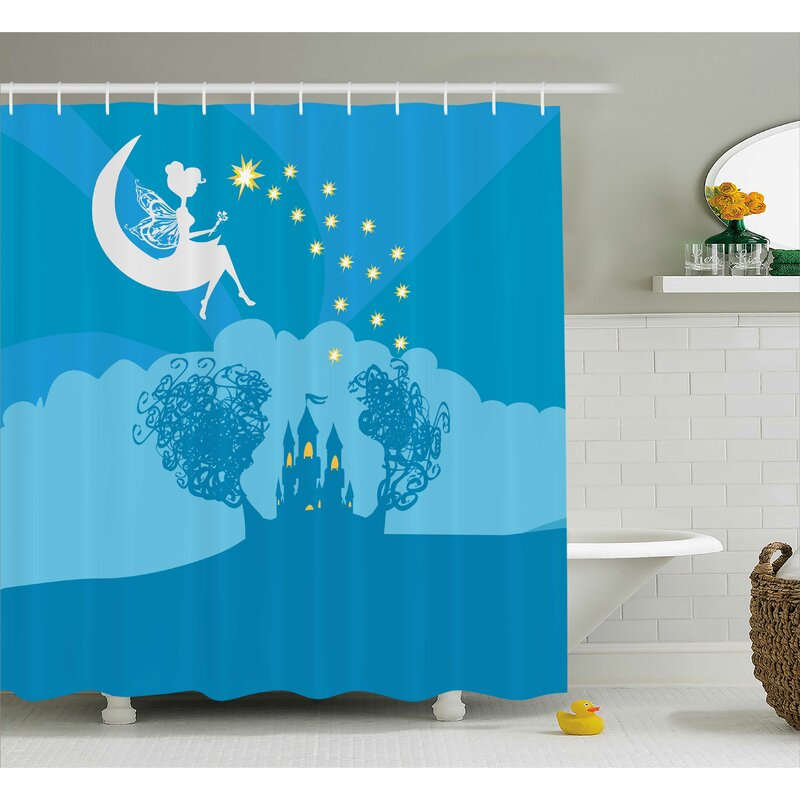 Emma Girly Magical Fairy Tale Princess Castle With Female Pixie Crescent Moon Dreamy Print Shower Curtain